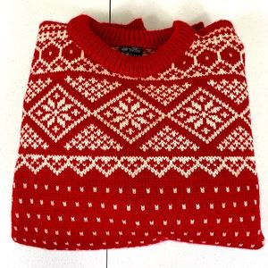 Dale of Norway Red White Snowflake Wool Sweater